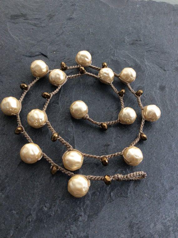 Pearl crochet necklace  choker boho modern by Mollymoojewels