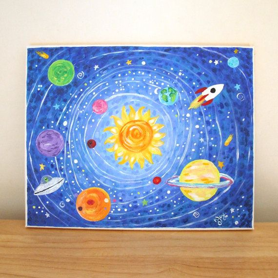 Art for Kids, OUT of THIS WORLD, Solar System, 14x11 Acrylic Canvas, Boys Room Decor, Nursery Art, Space Theme Art, Rocket Painting