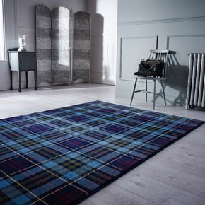 Power loomed with 100% Heatset polypropylene pile, the Kilry rug benefits from being soft to touch, hard wearing, easy to clean and stain resistant. #Blue #Tartan #InteriorDesign