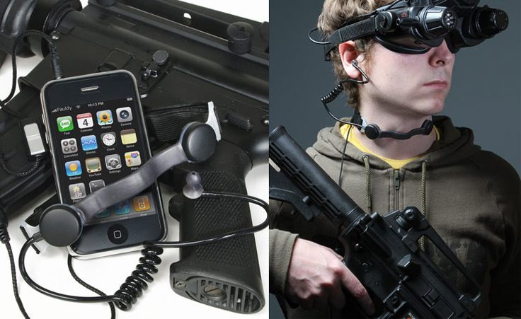 Black Ops Throat Mic iPhone Headset..... I wonder if this would work for my motorcycle...