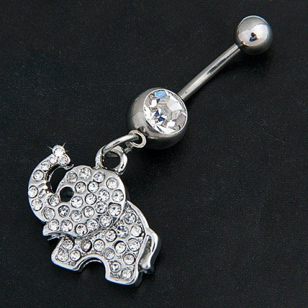 Fashion Diamante Elephant Pattern Pendant Belly Button Ring For Women