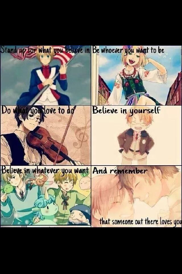 ((Hetalia seriously has the greatest themes. All the characters are such good people, with good intentions. Yes, even France.))