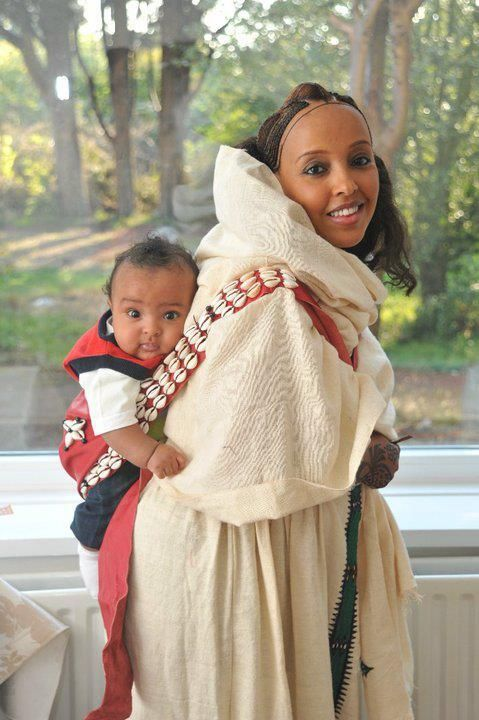 Young Habesha, Eritrean woman in traditional clothes...