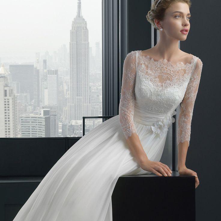 Free Shipping Cheap Wedding Dresses 2017 Floor- length A-Line Romantic Bride Dress Three Quarter Custom Made vestidos de noiva