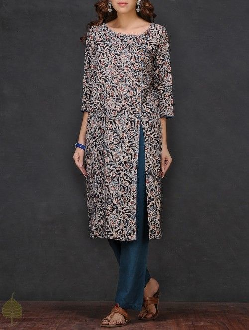 Black-Beige Kalamkari-printed Cotton Kurta by Jaypore