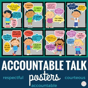 Accountable Talk Sentence Stems - Teach your students to engage in scholarly discussions with accountable talk sentence stems. These stems help your students frame their thoughts in a thoughtful and respectful manner that promotes discussion and strengthens communication skills.