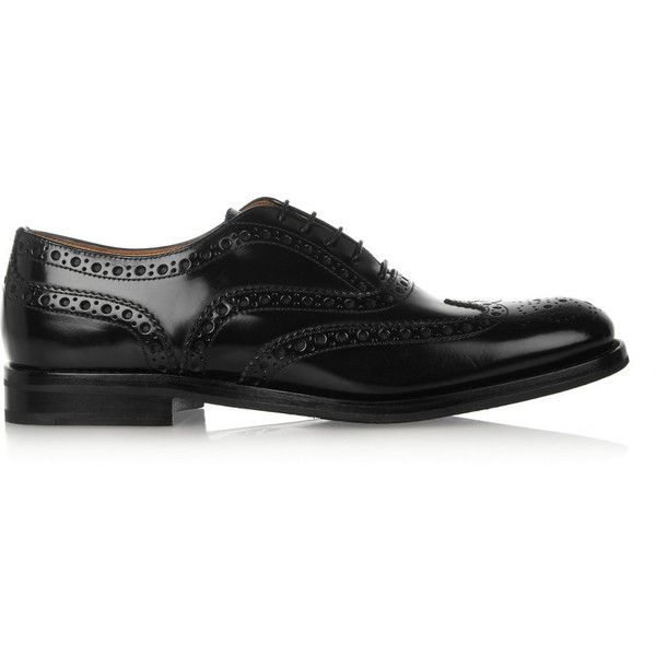 Church's The Burwood glossed-leather brogues (29,230 INR) ❤ liked on Polyvore featuring shoes, oxfords, flats, buty, oxford, обувь, black leather oxfords, black lace up flats, lace up flats and leather oxfords
