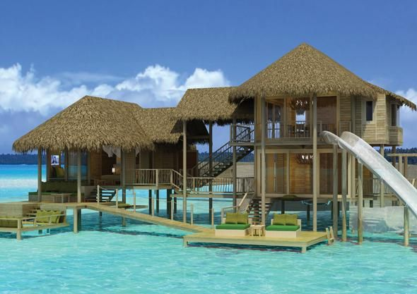 Tropical Island Beach Ambience Sound: Over Water Villa With A Slide !!