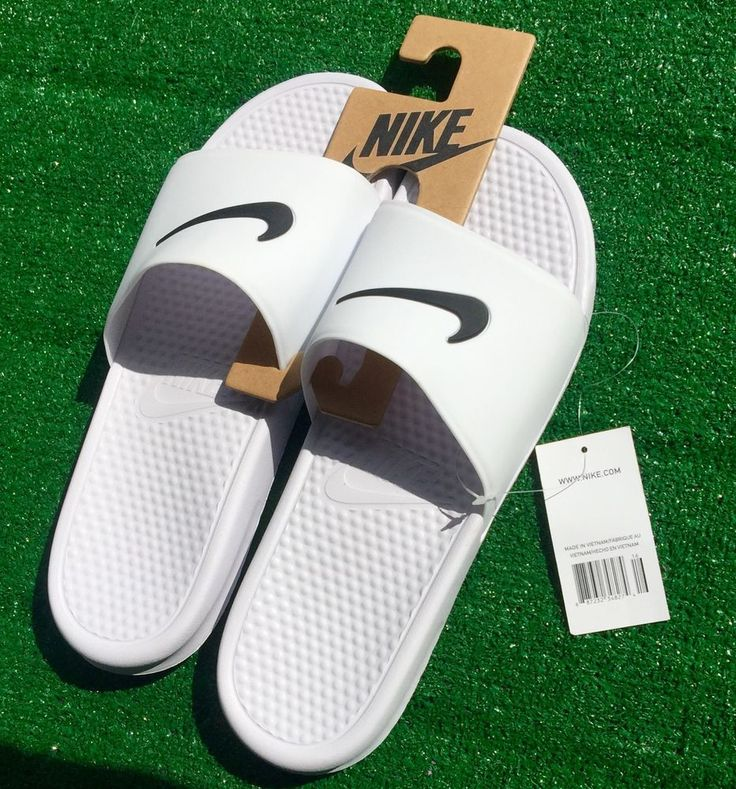 men shoes Nike Benassi Swoosh Slides white black Slipper shower beach size14  #Nike #Slides