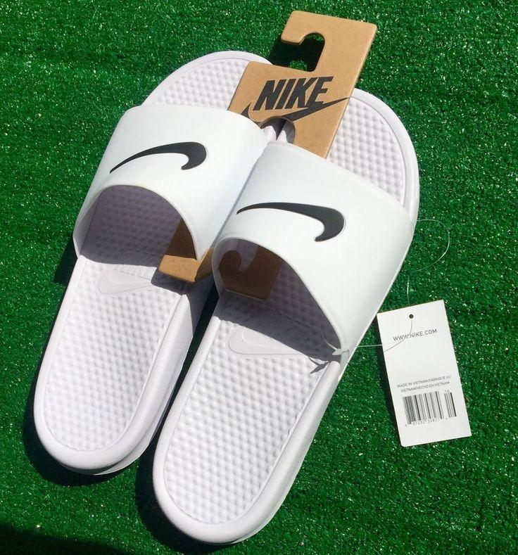 men shoes Nike Benassi Swoosh Slides white black Slipper shower beach size14  #Nike #Slides
