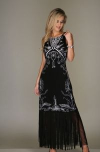 Black and White Embroidered Dress.  Ideas for Western/&Stampede formal events.