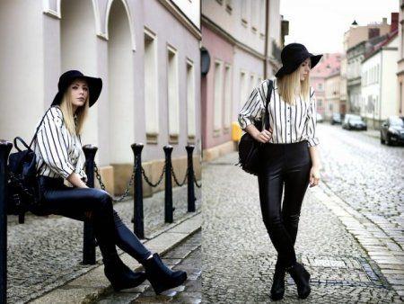 striped shirt + leather pants- więcej na stylizacje.pl