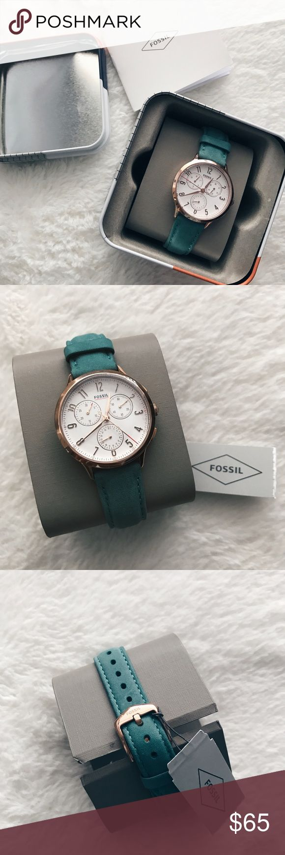 Women's Fossil Watch I'm selling this beautiful fossil watch. It has a beautiful turquoise band w/ rose gold detailing. Fossil Jewelry