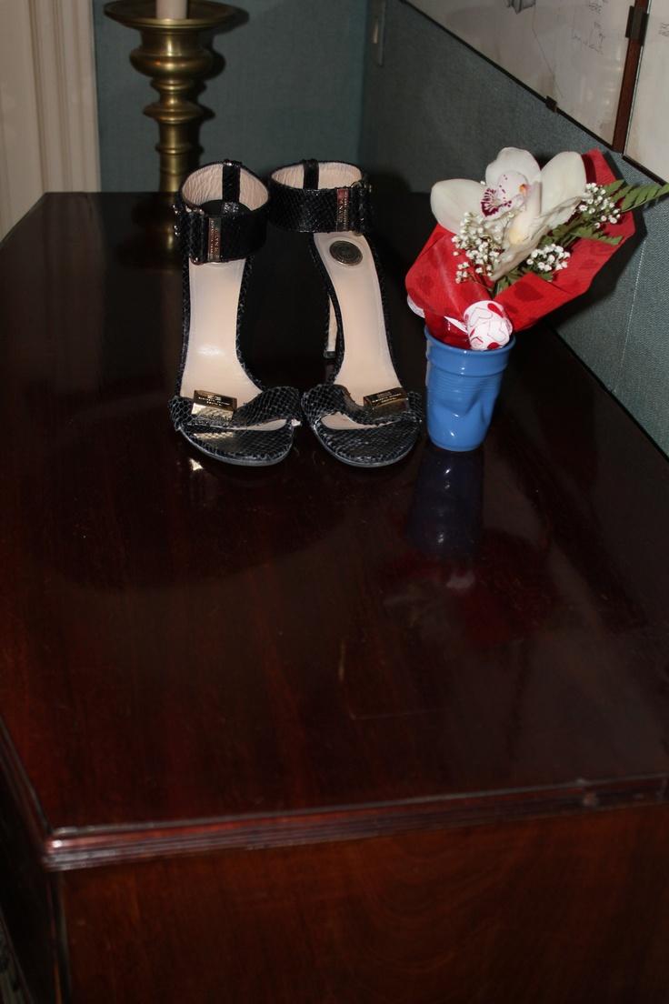Black python extremely hight heels. Ankle lace  and golden logo Elisabetta Franchi