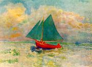 Red Boat with a Blue Sail 1906-07  by Odilon Redon