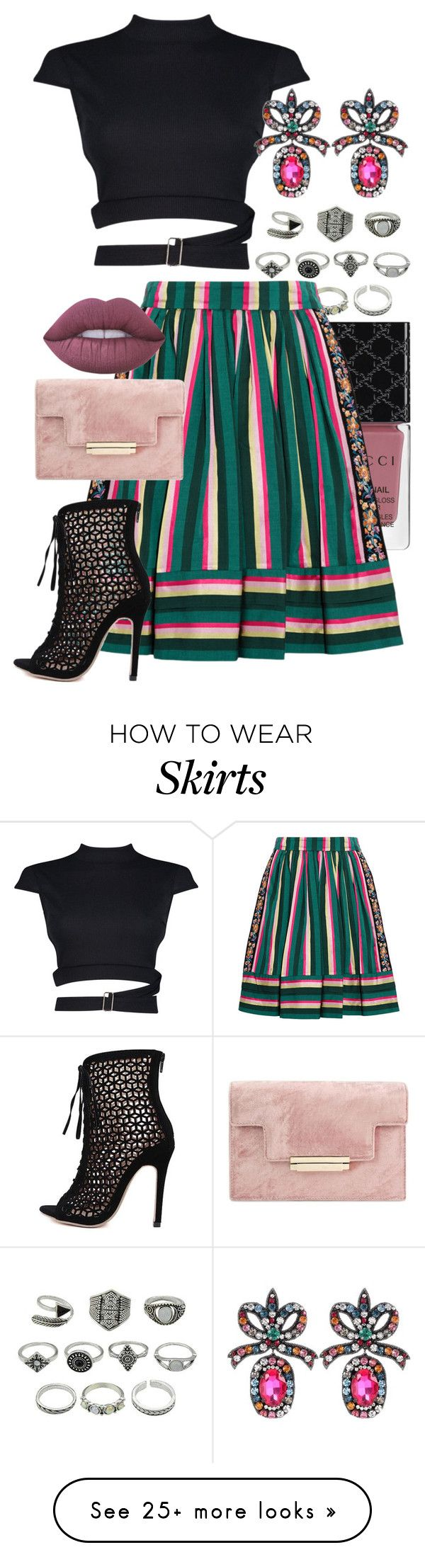 """Striped Skirt"" by jelisaj on Polyvore featuring Gucci, Etro, Boohoo, Lime Crime, outfit and stripes"