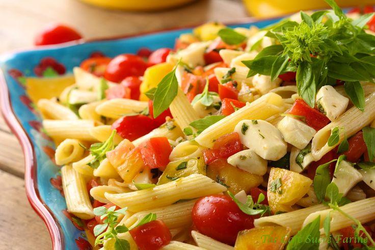 The Café Sucré Farine: Penne Pasta Salad w/ Fresh Mozzarella and Heirloom Tomatoes