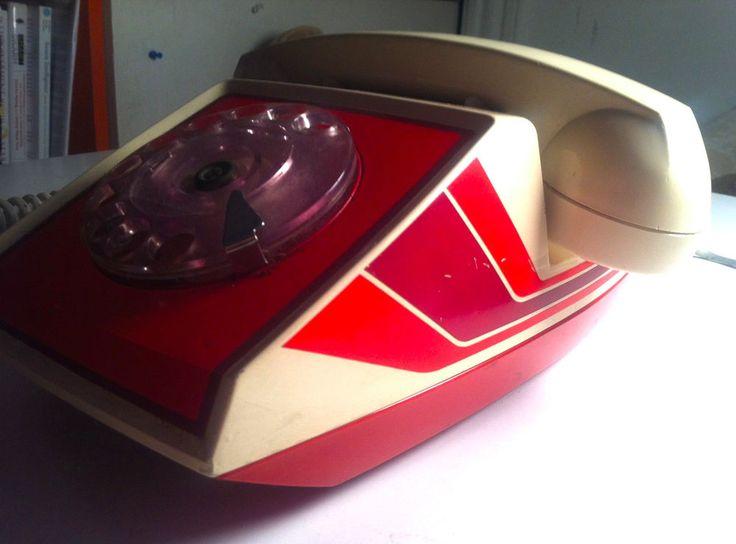 Vintage 80s Rotary Phone Retro Red Orange Stripes Desk ITT Bell Mexico Cool | eBay
