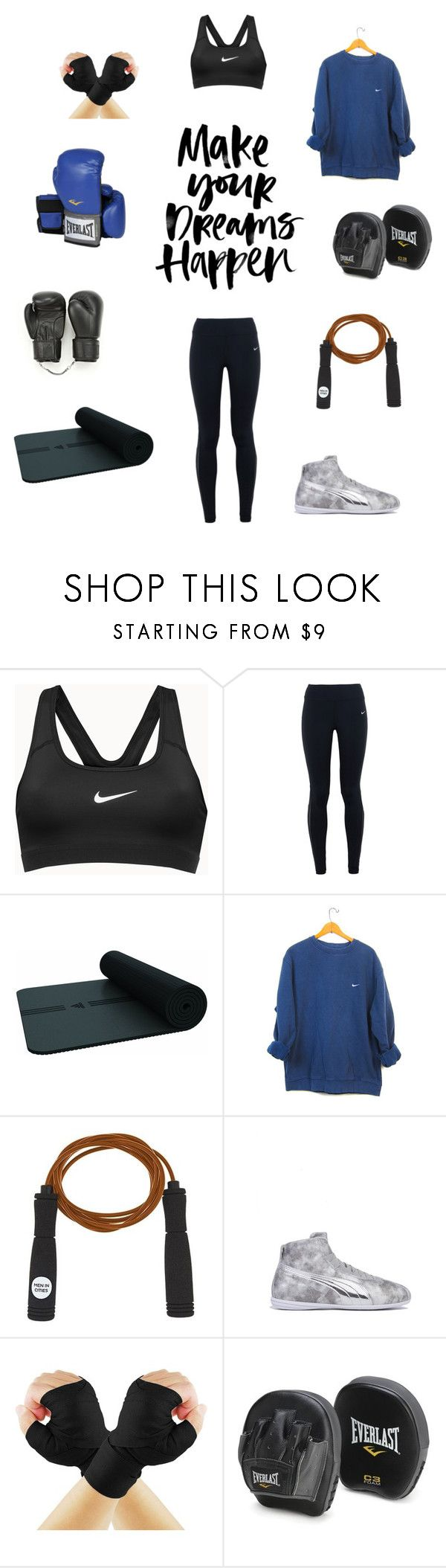 """Get Boxing with Gigi Hadid"" by voyageashpole ❤ liked on Polyvore featuring NIKE, adidas, Men in Cities, Puma, Everlast, women's clothing, women's fashion, women, female and woman"