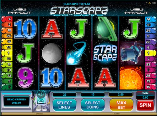 Play Starscape a space themed casino slot...