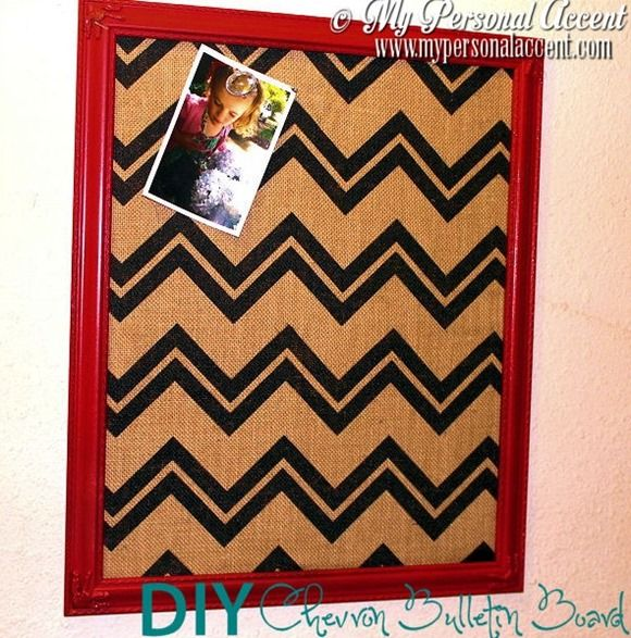 DIY Chevron Bulletin Board from My Personal Accent- for craft area
