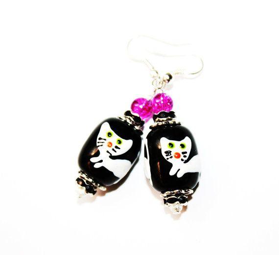 Halloween Witch Cat lampwork dangle earrings by IraleneJewellry, $14.99