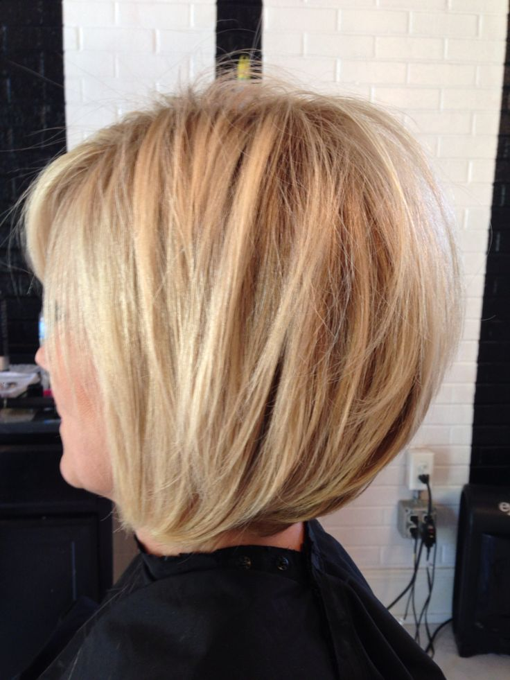 Dimensional blonde, bright blonde, stacked bob, razored ...