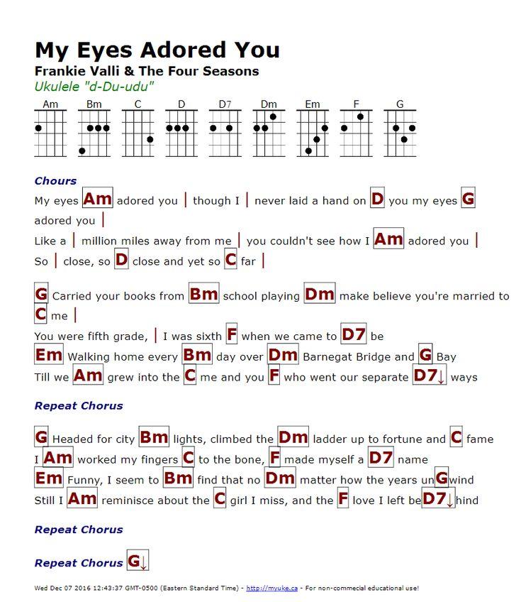 My Eyes Adored You (Frankie Valli) - http://myuke.ca