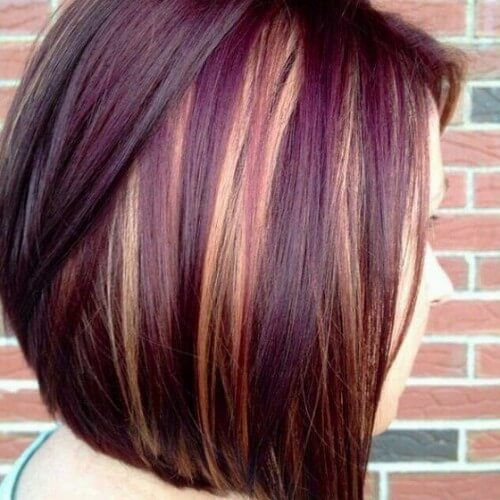 blonde highlights on burgundy hair