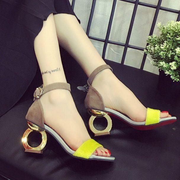 2016 Yeni Moda kadın Yüksek Topuklu Pompalar Seksi Gelin Sandalet kare Topuk Peep Toe Yüksek Topuklar Ayakkabı kadınlar