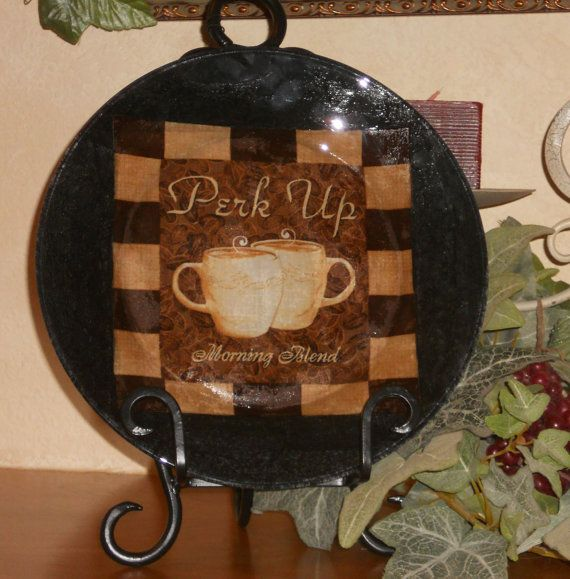 Coffee Decor Coffee Cup Decorative Decoupage Plate Java Collection - PERK UP 10.5  Round : coffee plates decor - pezcame.com