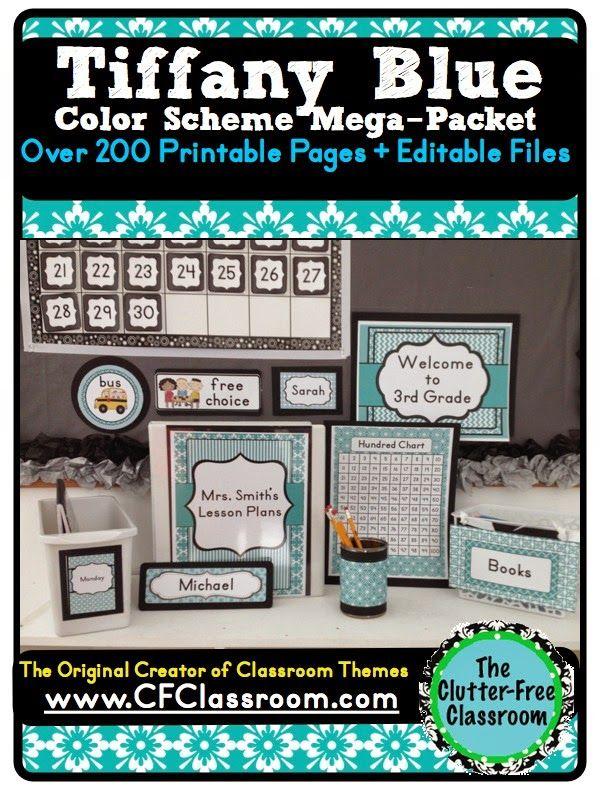TIFFANY BLUE CLASSROOM COLOR SCHEME - A collection of over 32 different all-inclusive classroom decor & essentials bundles that come in a variety of colors & patterns (including chevron / polka dots). It includes photos/images to help & inspire you to create an organized, colorful, beautiful classroom using affordable printables. :) Jodi from The Clutter-Free Classroom www.CFClassroom.com