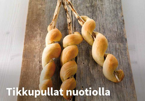 Tikkupullat nuotiolla, Resepti: Valio #kauppahalli24 #resepti #tikkupulla #jälkiruoka