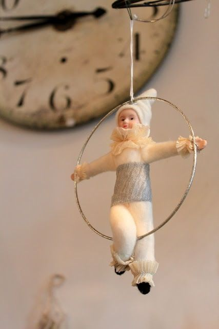 Reproduction cotton batting circus performer. needle felted acrobat on a ring great interior decor for country living/shabby chic/french home