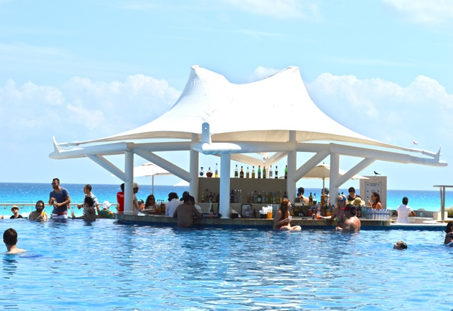 Feb. 2013:Hard Rock Hotel, Cancun, Mexico   This is one of the swim up bars in the HUGE Infinity pool.