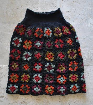 Handmade by Carolyn: Crocheted Granny-squares skirt
