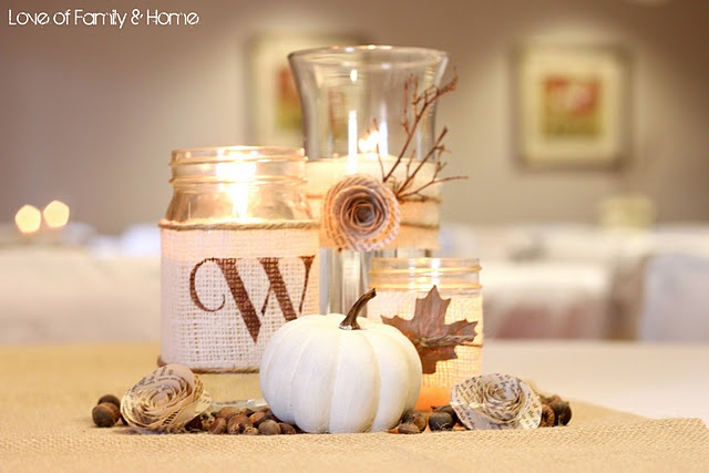 Rustic, Chic Fall Wedding Centerpieces - change up the colors and get rid of the fall stuff and ill be happy :-)