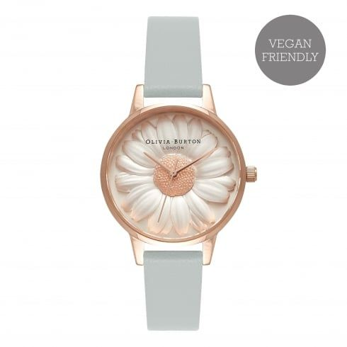 Vegan Friendly Midi Dial Moulded Daisy Grey & Rose Gold -  from Olivia Burton UK