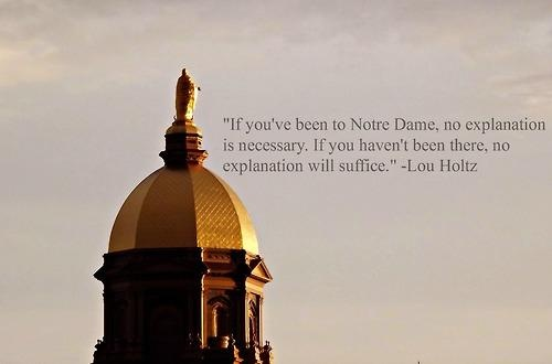"""Notre Dame according to Lou Holtz. Like the Irish?  Be sure to check out and """"LIKE"""" my Facebook Page https://www.facebook.com/HereComestheIrish  Please be sure to upload and share any personal pictures of your Notre Dame experience with your fellow Irish fans!"""