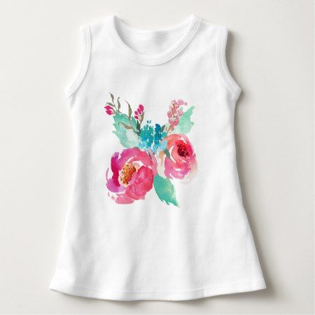 Pink Turquoise Watercolor Peonies Summer Bouquet Dress - tap to personalize and get yours