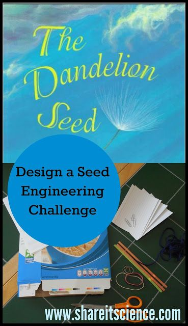 Share it! Science News : The Dandelion Seed: Design A Seed Engineering Challenge. Challenge students or your children to create the best seed design for floating, flying and sticking. Inspired by fiction and non-fiction picture books.