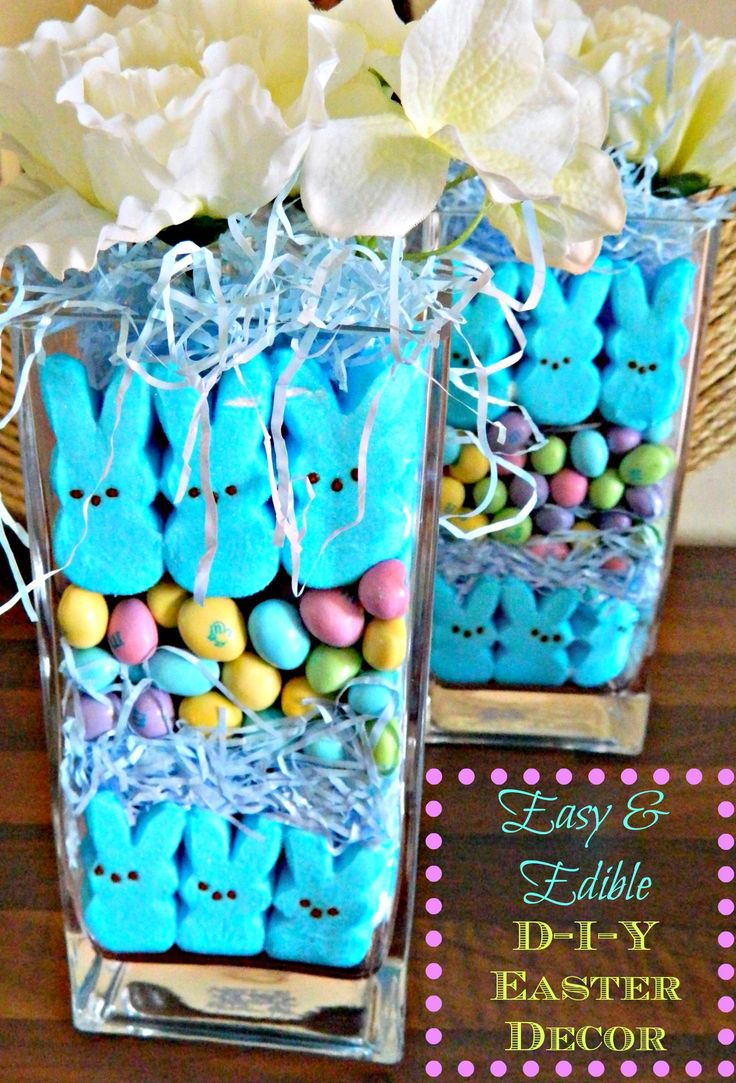 Easter decorations. Like the vase filler idea. Branches with eggs would be cute with it.