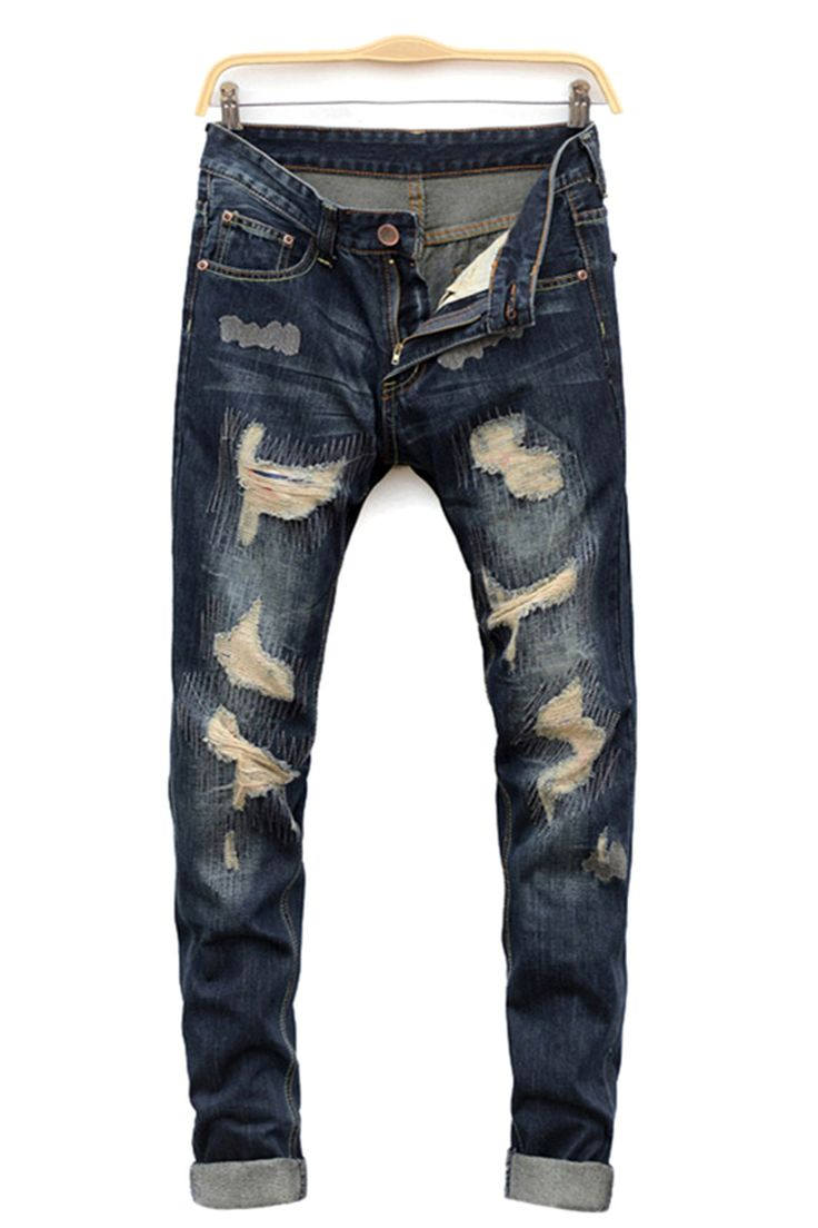 03b50d88b49 Straight Leg Cat s Whisker Distressed Denim Jeans