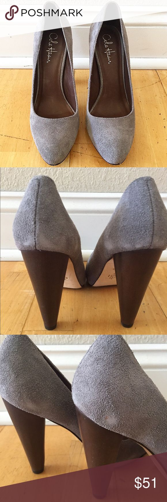 Cole Haan Grey Suede Pumps Worn a couple of times with some scuffs. Dark wooden chunky heel. Approximately 4 inch heel height. Cole Haan Shoes Heels