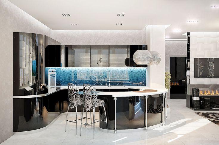 Дизайнерские металлические стулья на кухне в стиле модерн
