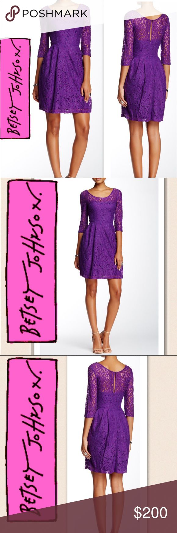 """Coming Betsey Johnson Lace Skater Plum Dress Super cute - flattering lace dress for wedding, date night, out on the town with the girls.  - Scoop neck - Elbow sleeves - Scoop back with concealed zip closure - Keyhole back cutout with button-and-loop closure - Box pleat skirt - Lace overlay construction - Lined - Approx. 35.5"""" length  Material: Self: 56% cotton, 44% nylon Lining: 100% polyester  Fit: this style fits true to size. 'Model's stats for sizing: Model is wearing size 2 - Hips: 34''…"""