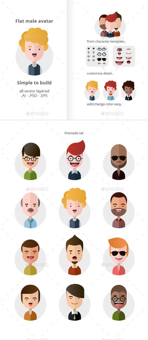 Flat Male Avatars - People Characters