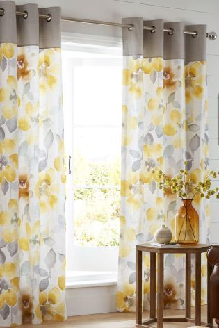 Buy Ochre Watercolour Bloom Eyelet Curtains from the Next UK online shop