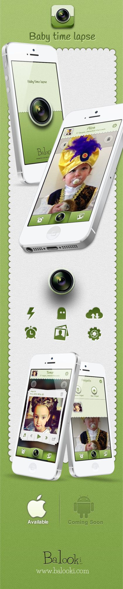UI for a New time lapse mobile app . #baby #camera #UI #green #mobileapp