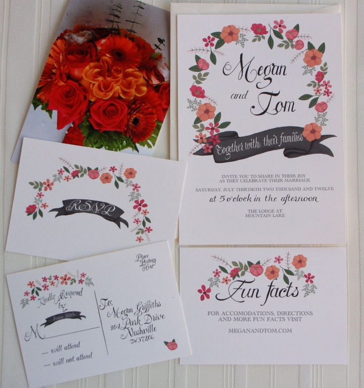 sample wedding invitation email wording to colleagues%0A Eternity Floral Wedding Invite hand painted pink  u     orange  via Etsy